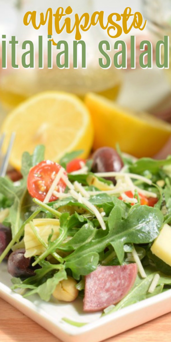 Crowd favorite, this Antipasto Italian Salad recipe is bursting with flavor. From the arugula to the citrus dressing, you'll love this easy 'no sugar' salad recipe!