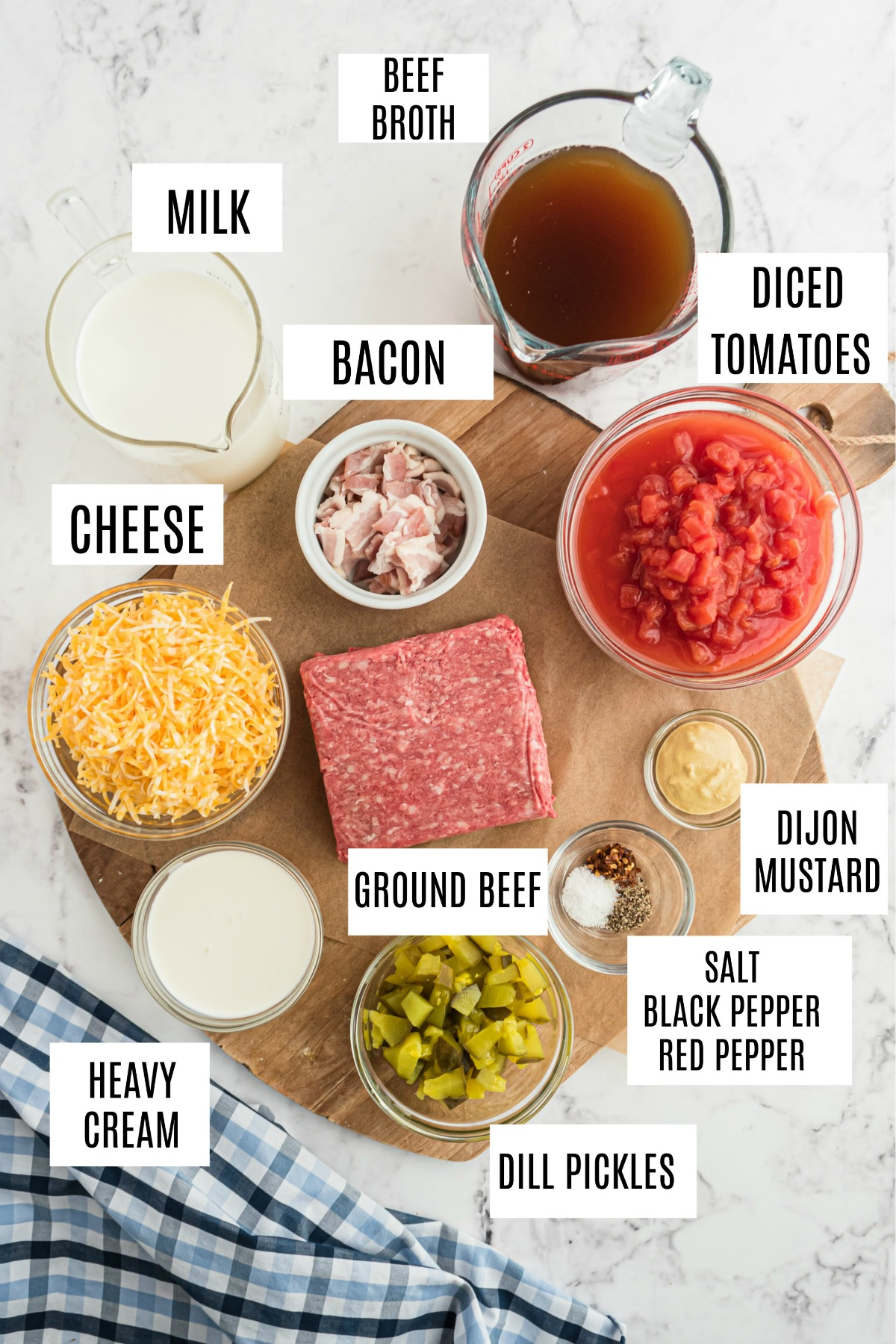 Cheeseburger soup ingredients.