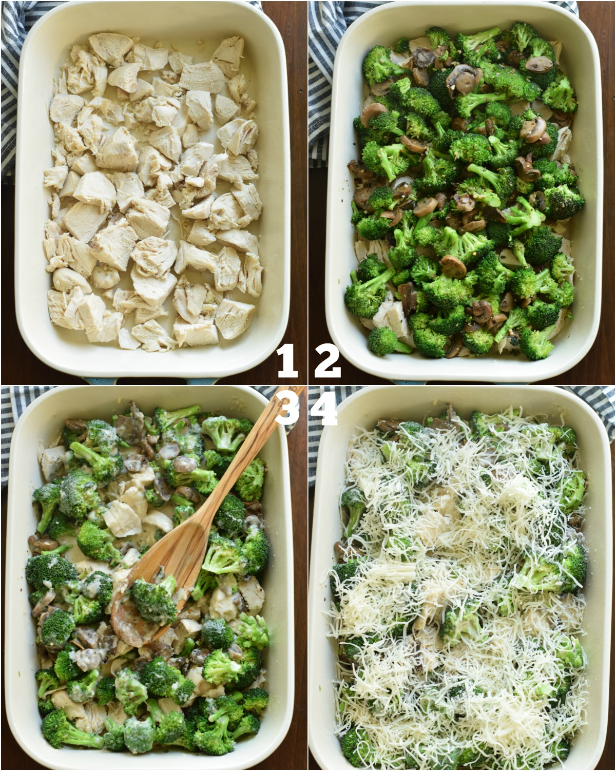 Step by step photos showing how to make chicken broccoli casserole.