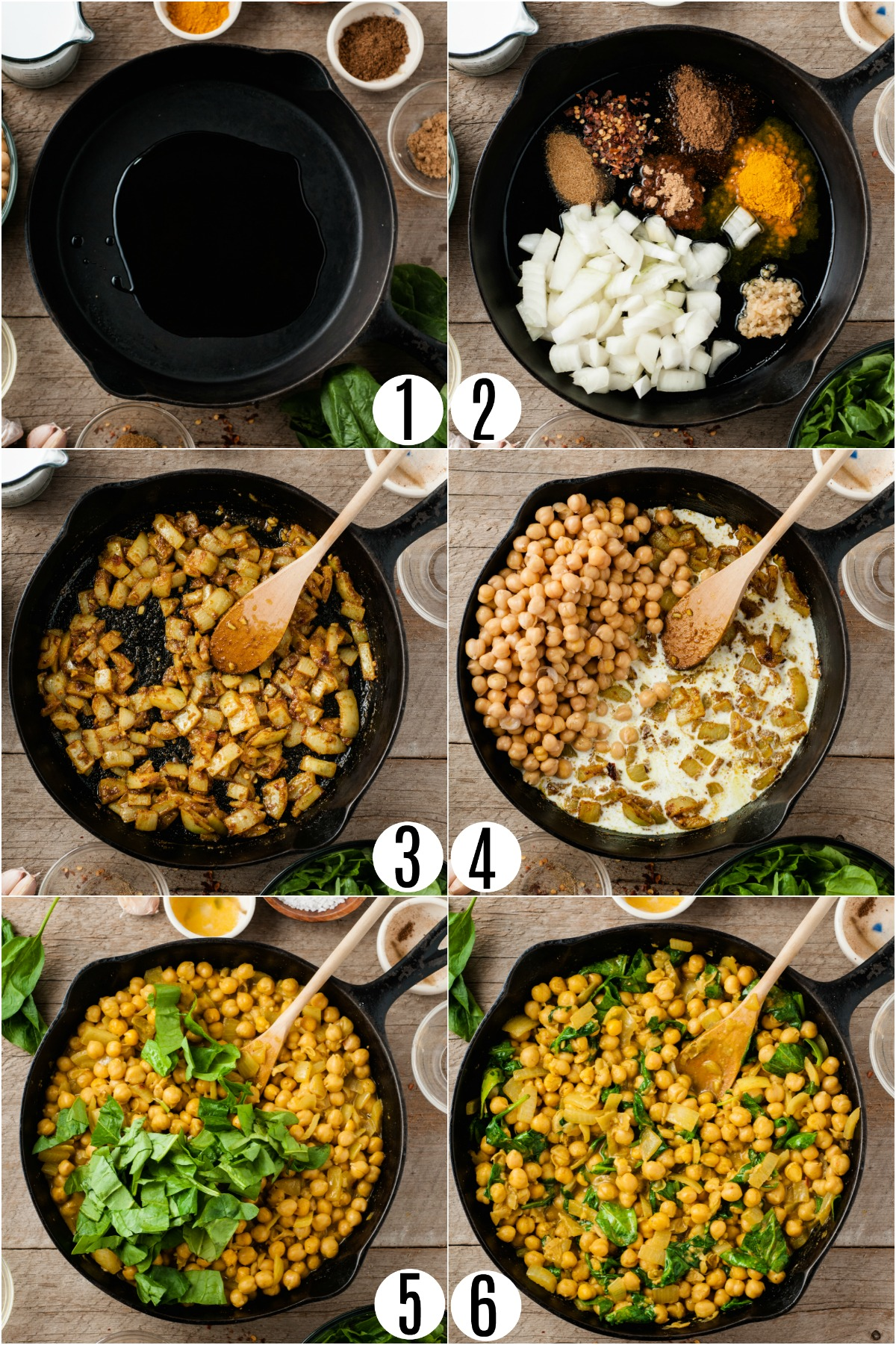 Step by step photos showing how to make chickpea curry.