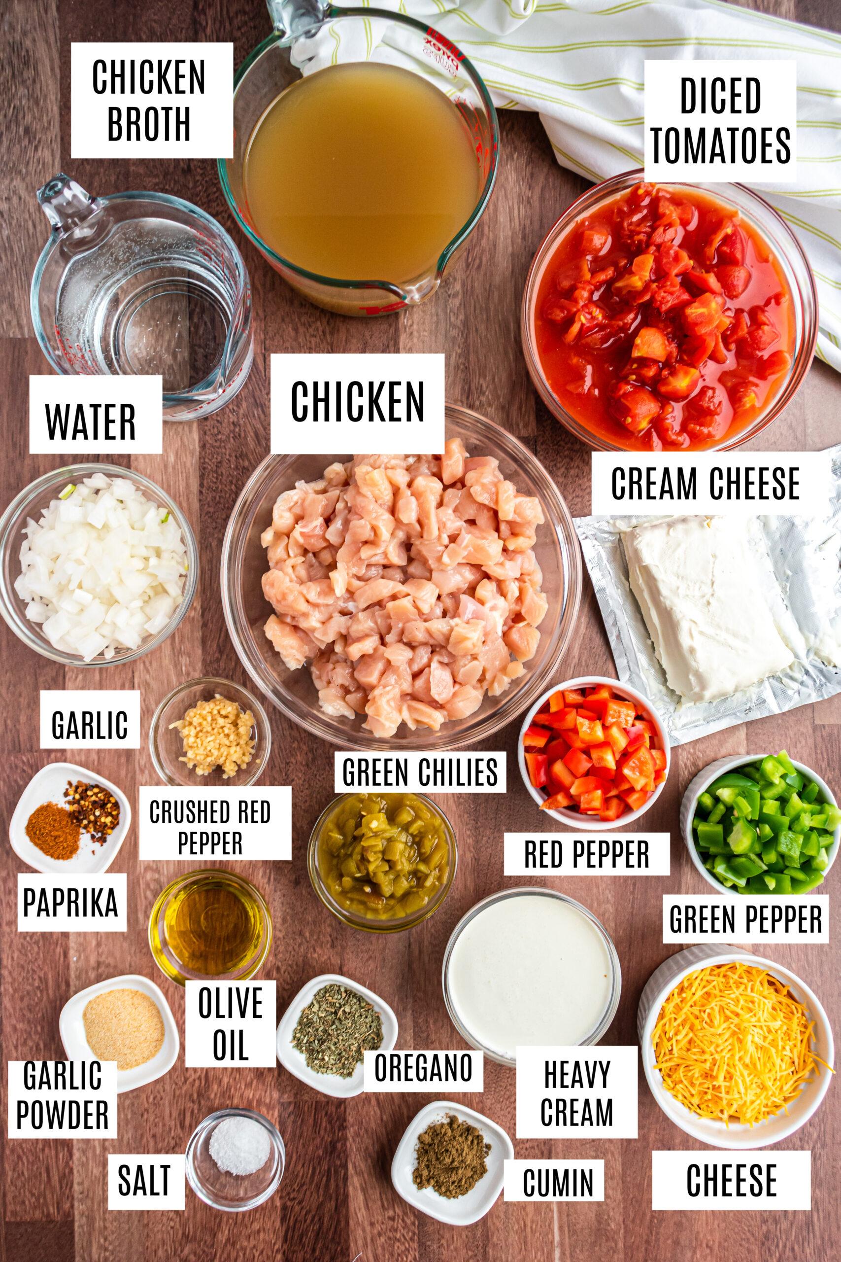 Ingredients needed for pressure cooker chicken fajita soup.