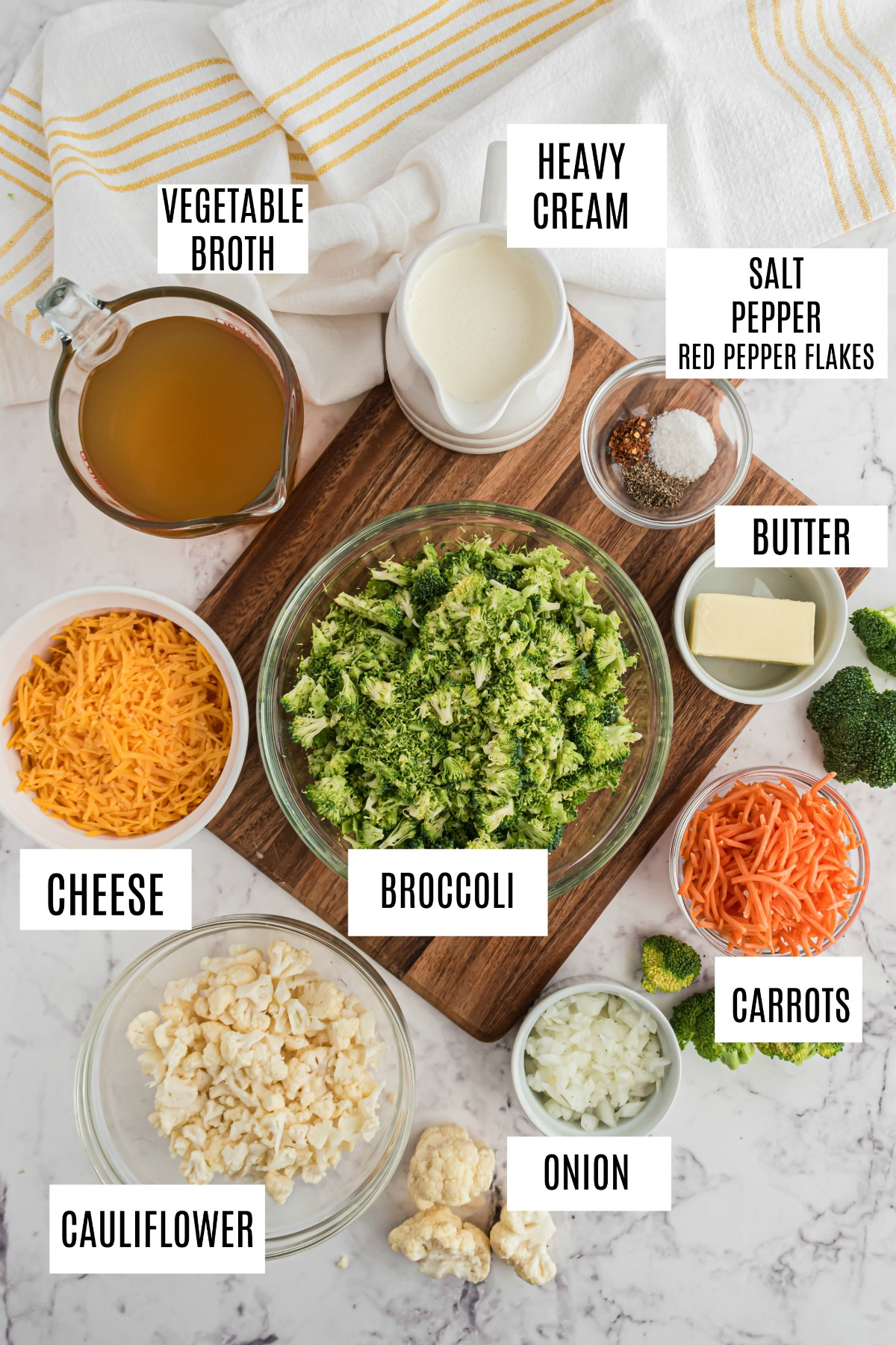 Ingredients needed to make gluten free broccoli cheese soup.
