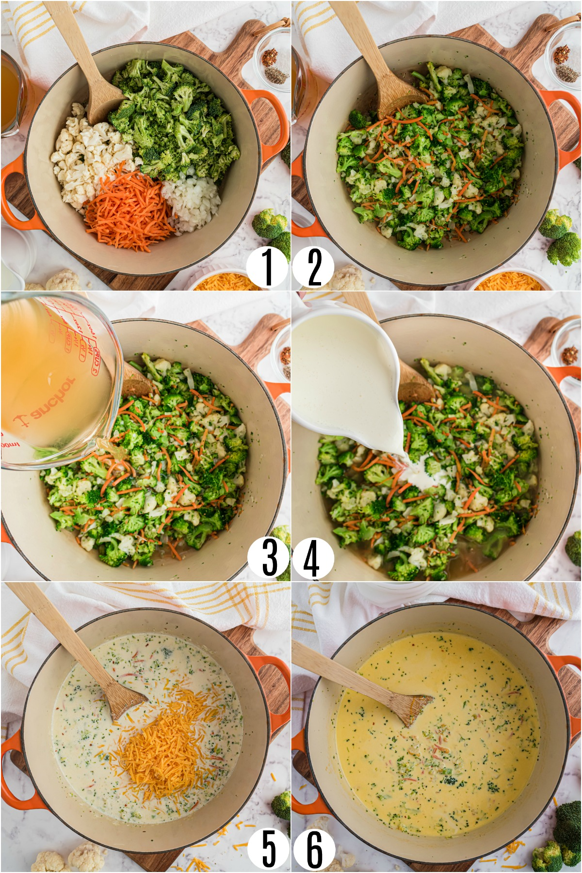 Step by step photos showing how to make low carb broccoli cheese soup.