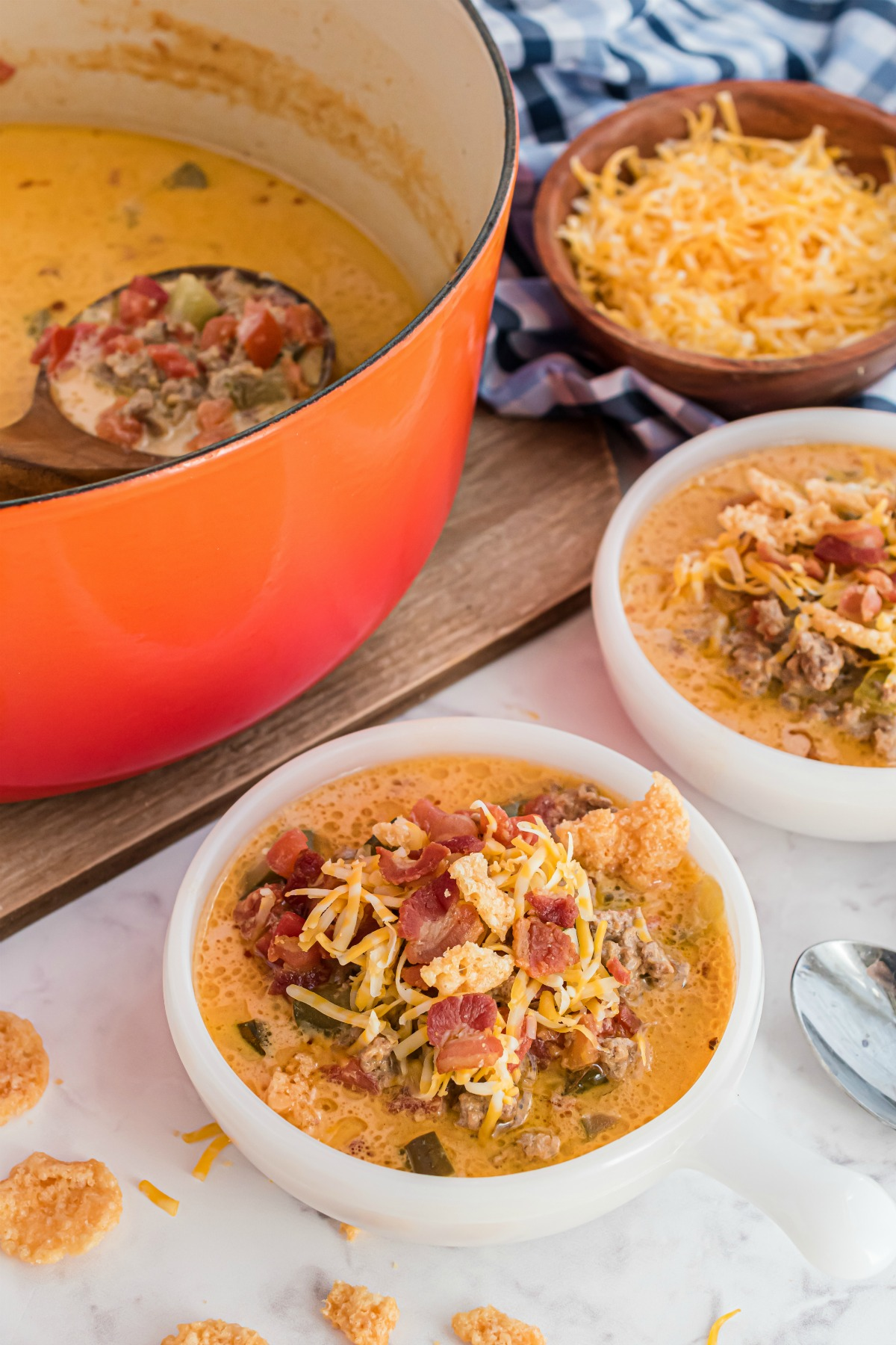 Bowls of cheeseburger soup.