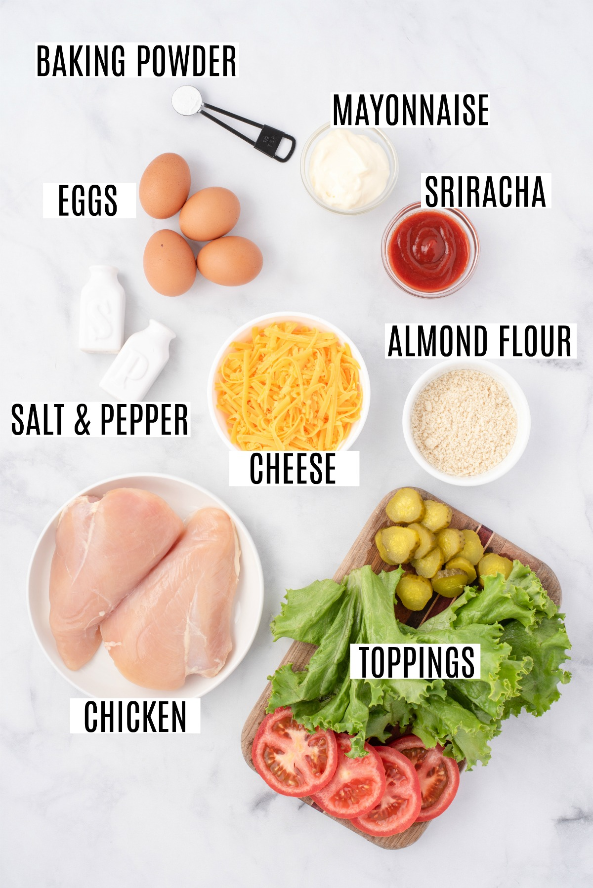 Ingredients needed to make chicken cheddar chaffles.