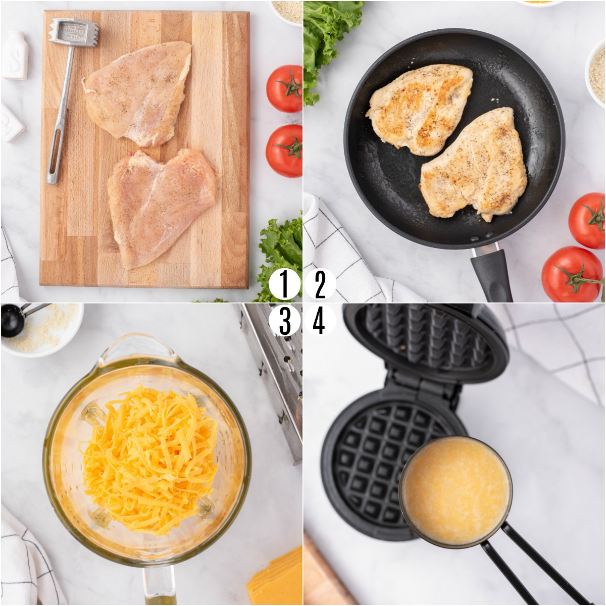 Step by step photos showing how to cook chicken and chaffles.