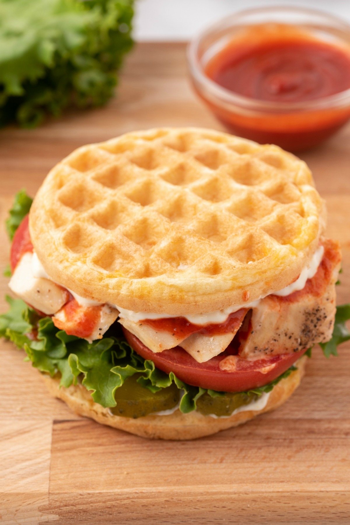 Chicken on a chaffle with vegetables.