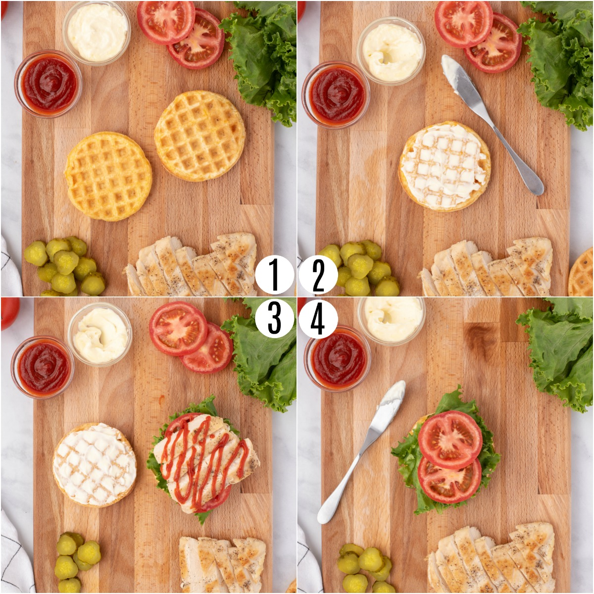 Step by step photos showing how to assemble chicken cheddar chaffle sandwich.