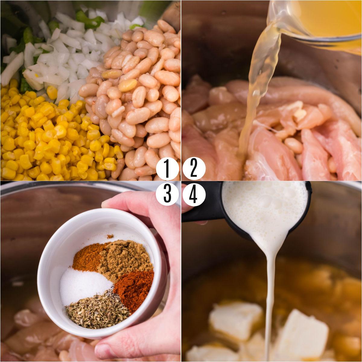 Step by step photos showing how to make white chicken chili in the Instant Pot.