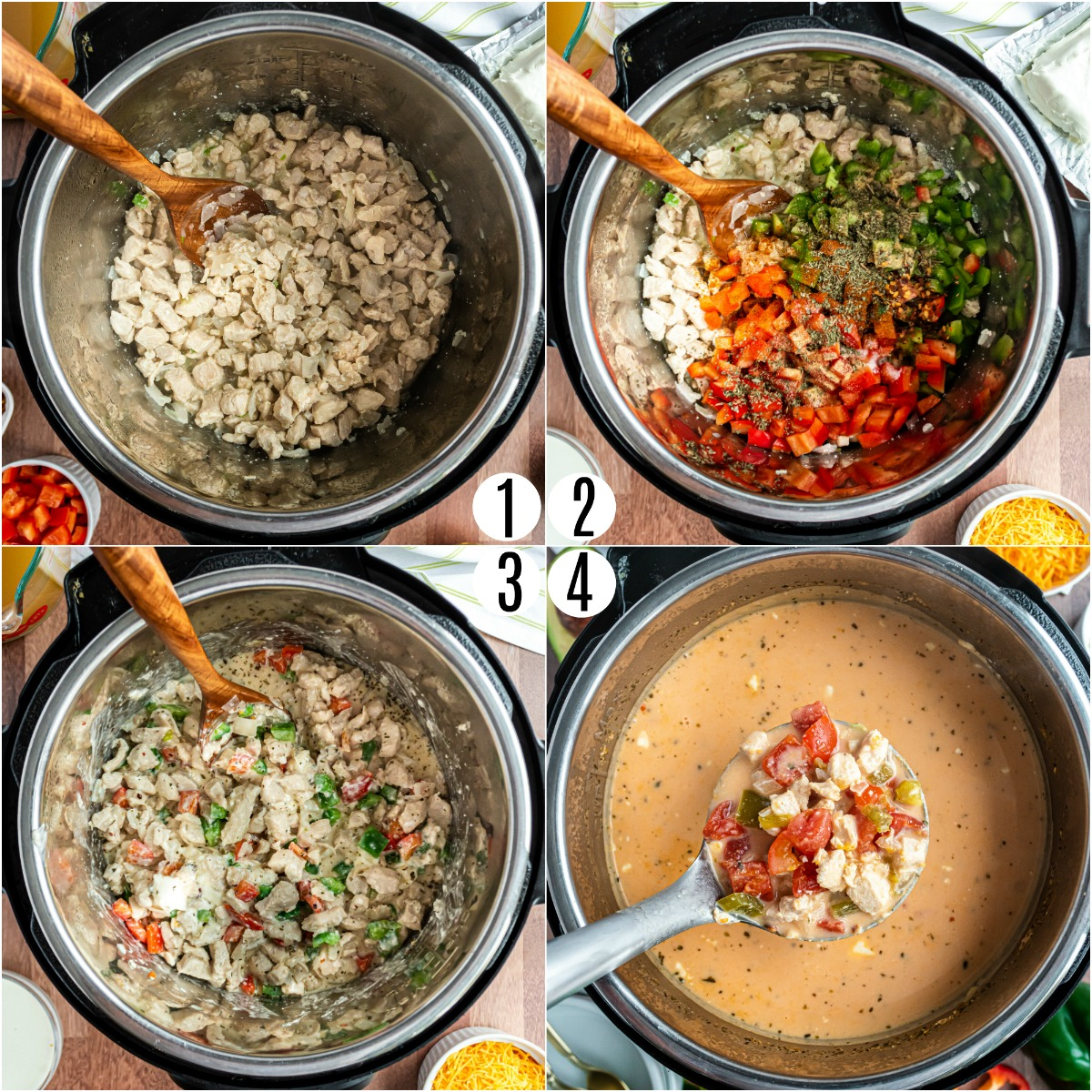 Step by step photos showing how to make low carb chicken fajita soup in the Instant Pot.