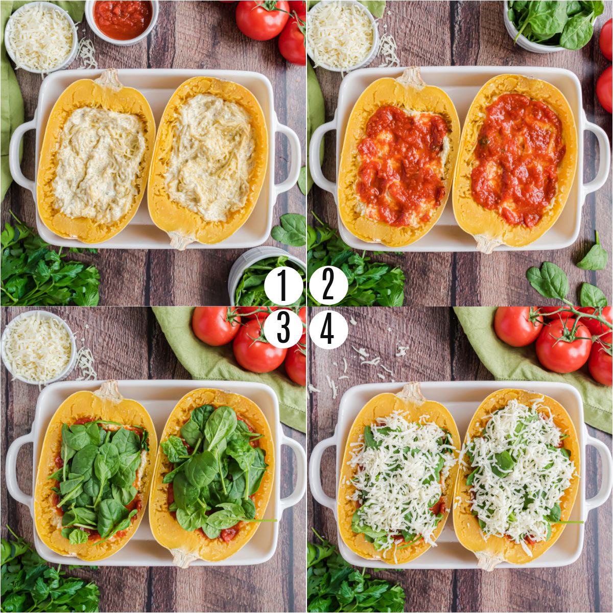 Step by step photos showing how to layer lasagna in spaghetti squash.