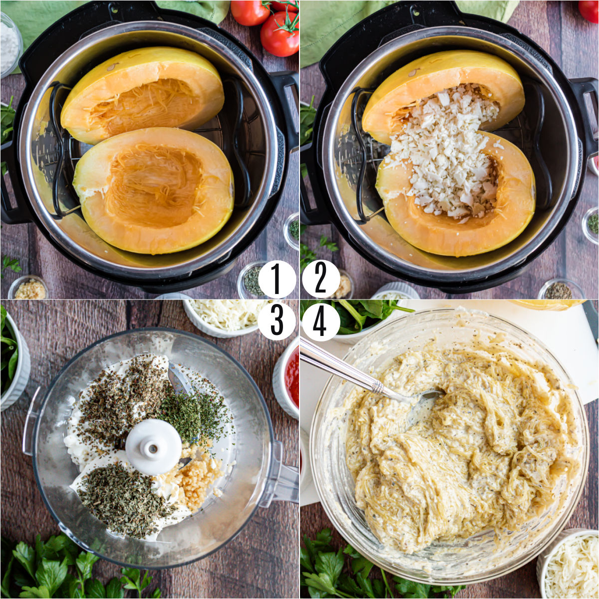 Step by step photos showing how to cook squash in the instant pot.