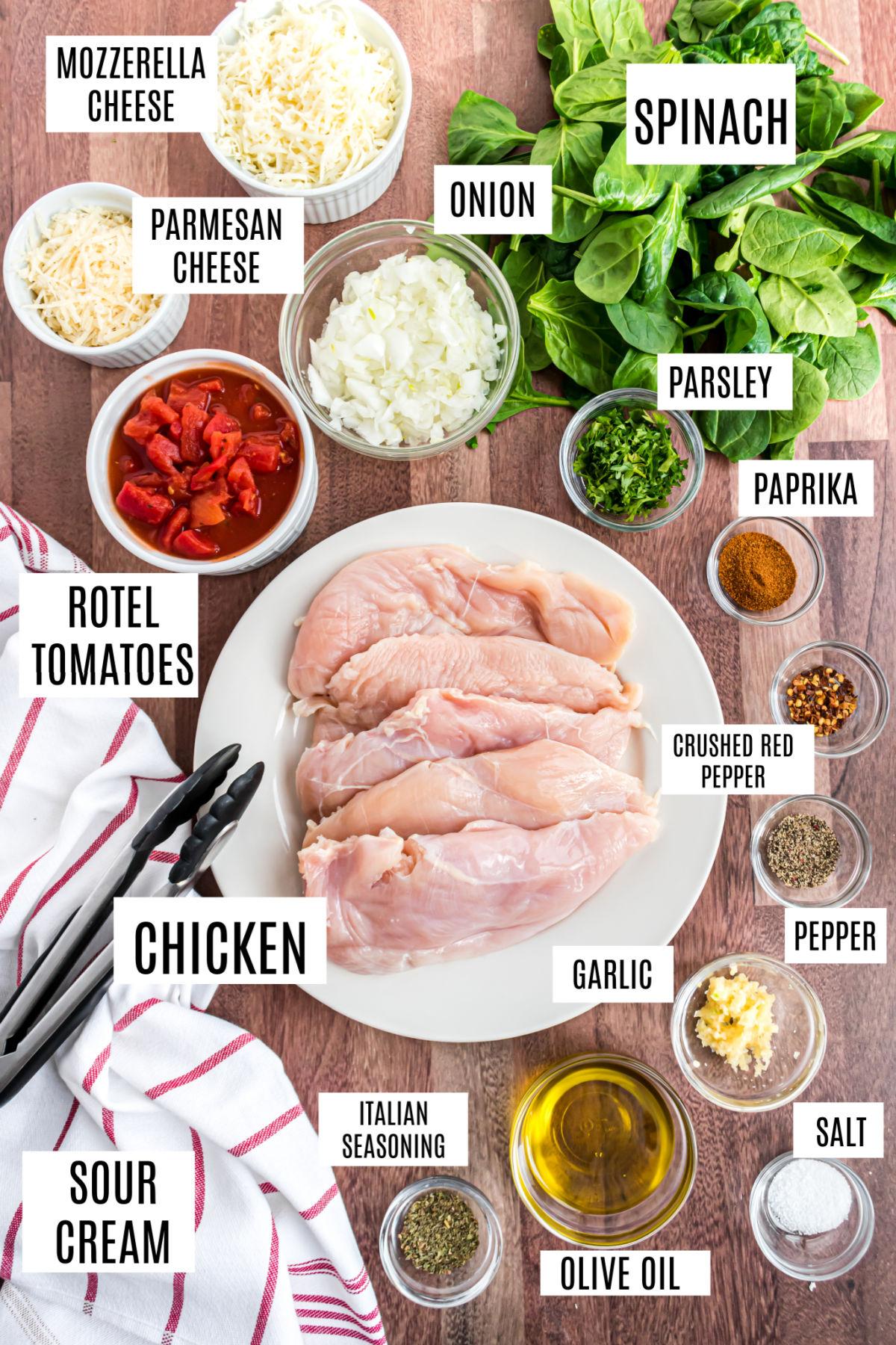 Ingredients needed for gluten free chicken spinach skillet recipe.
