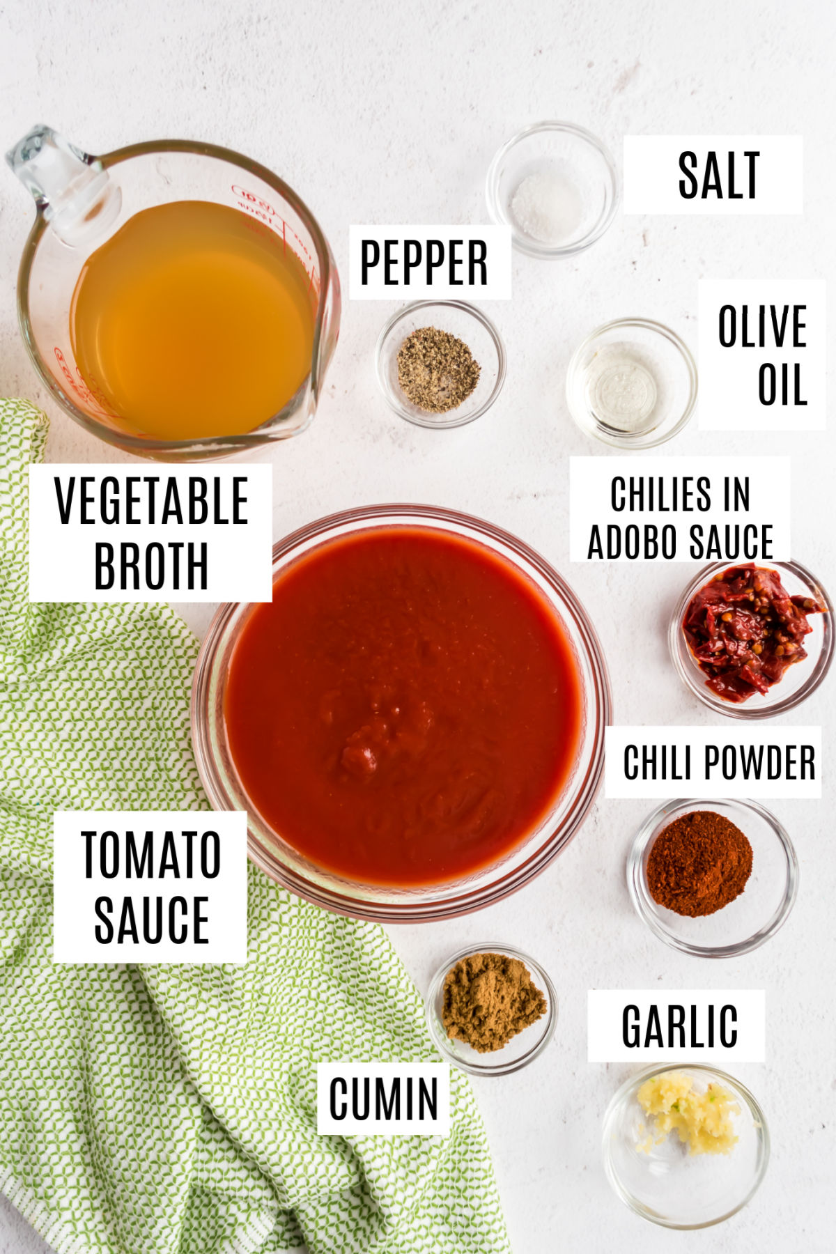 Ingredients needed for homemade enchilada sauce with no sugar.