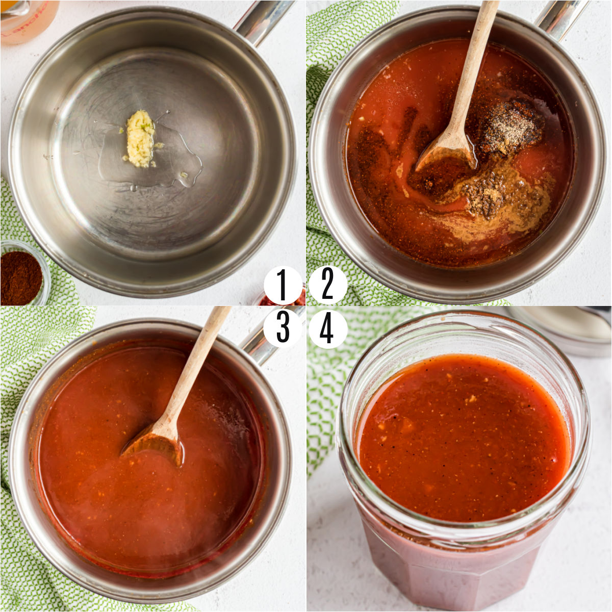 Step by step photos showing how to make sugar free enchilada sauce.