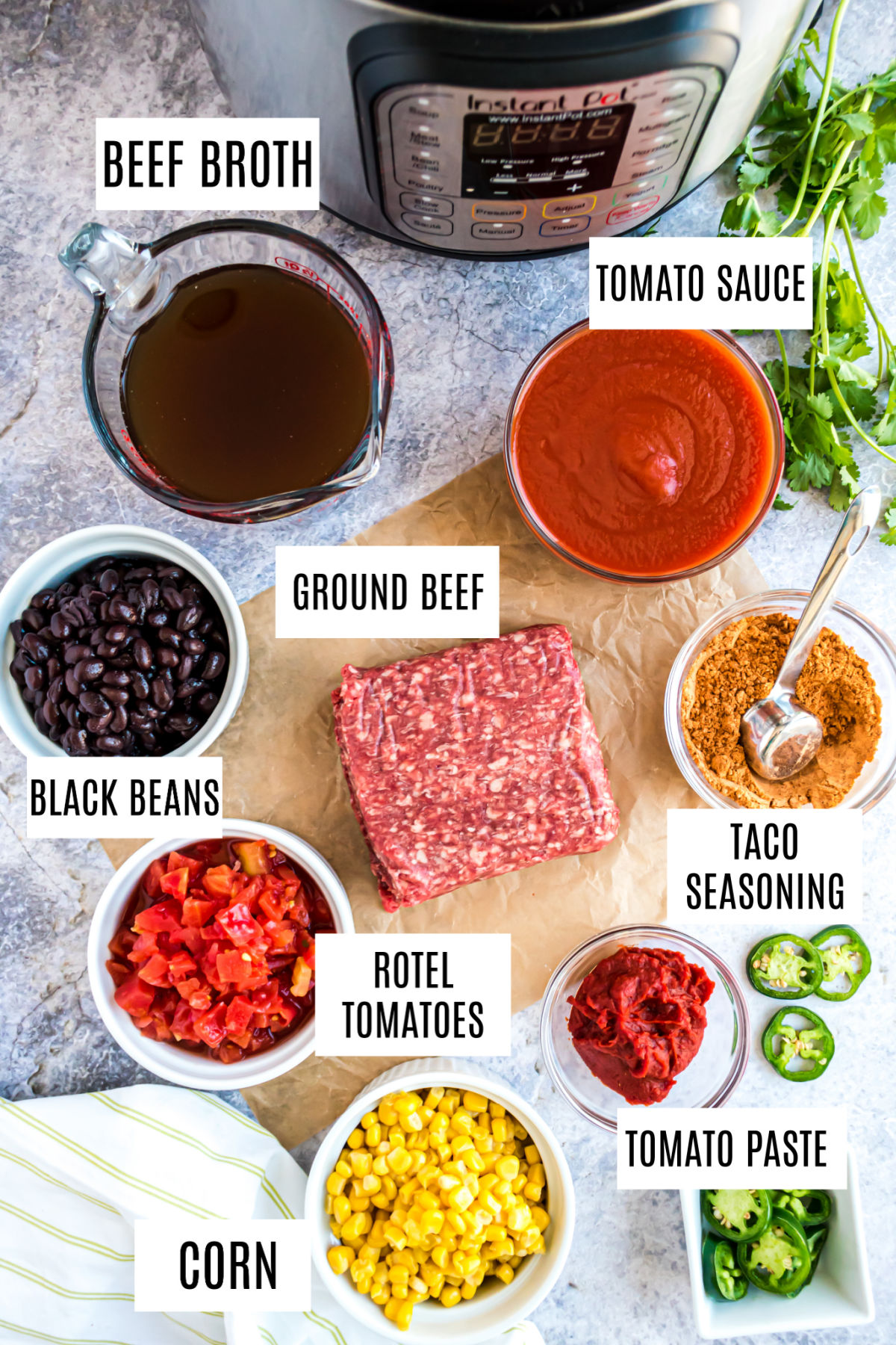 Ingredients needed for instant pot taco chili recipe.