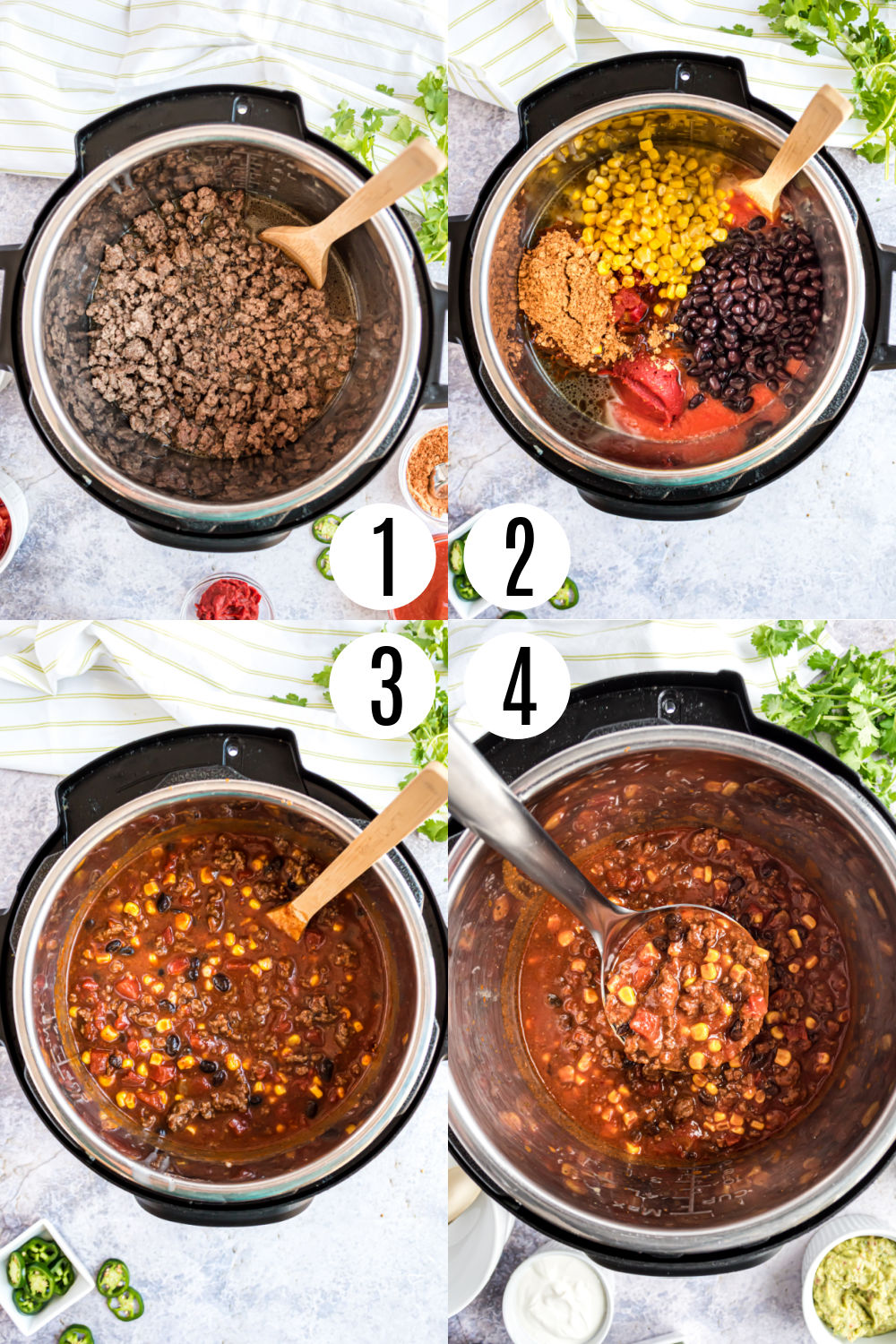 Step by step photos showing how to make taco chili in the pressure cooker.