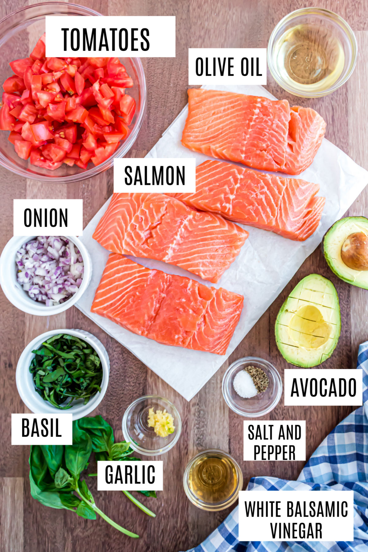 Ingredients needed to make baked salmon with bruschetta topping.