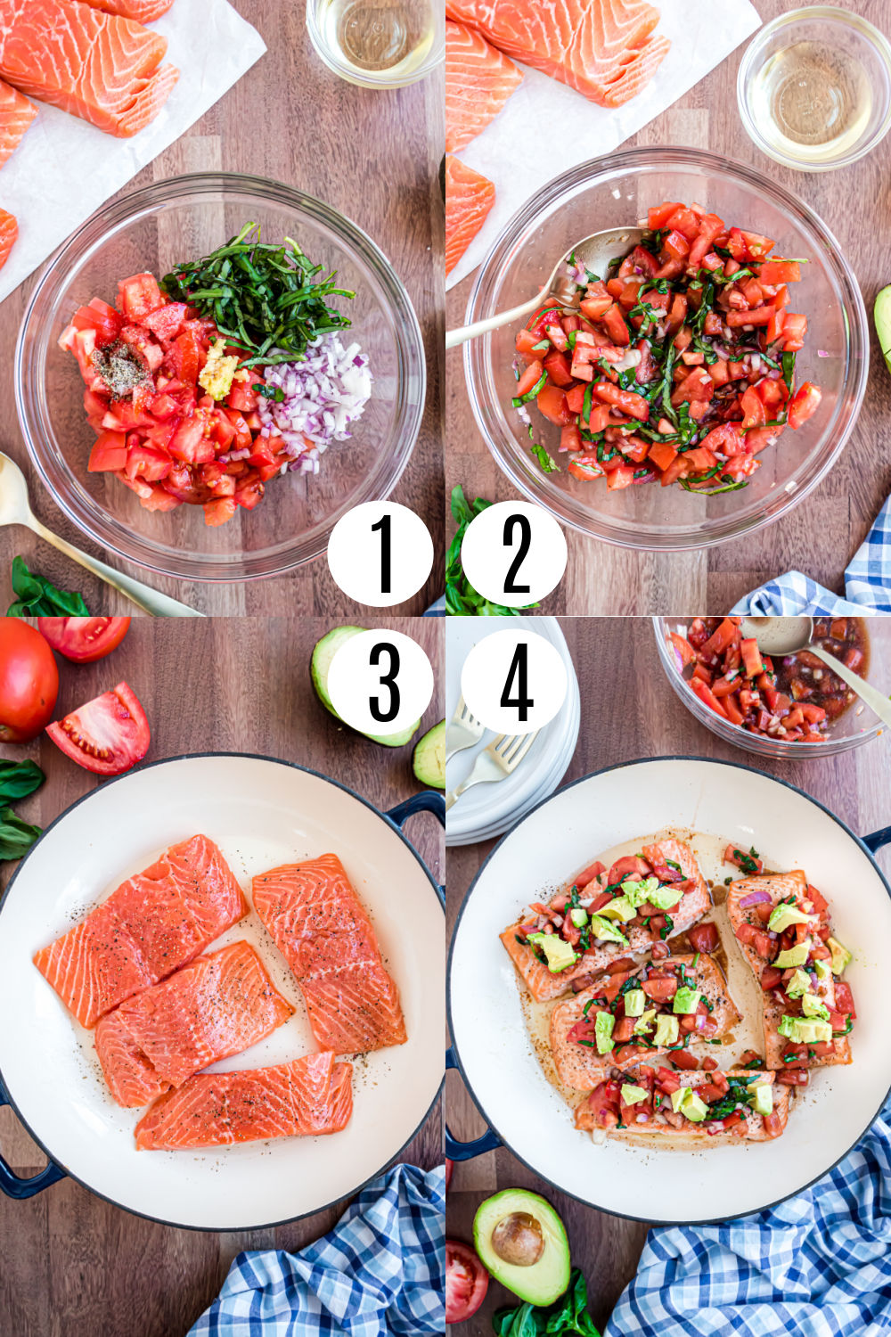 Step by step photos showing how to make bruschetta salmon.