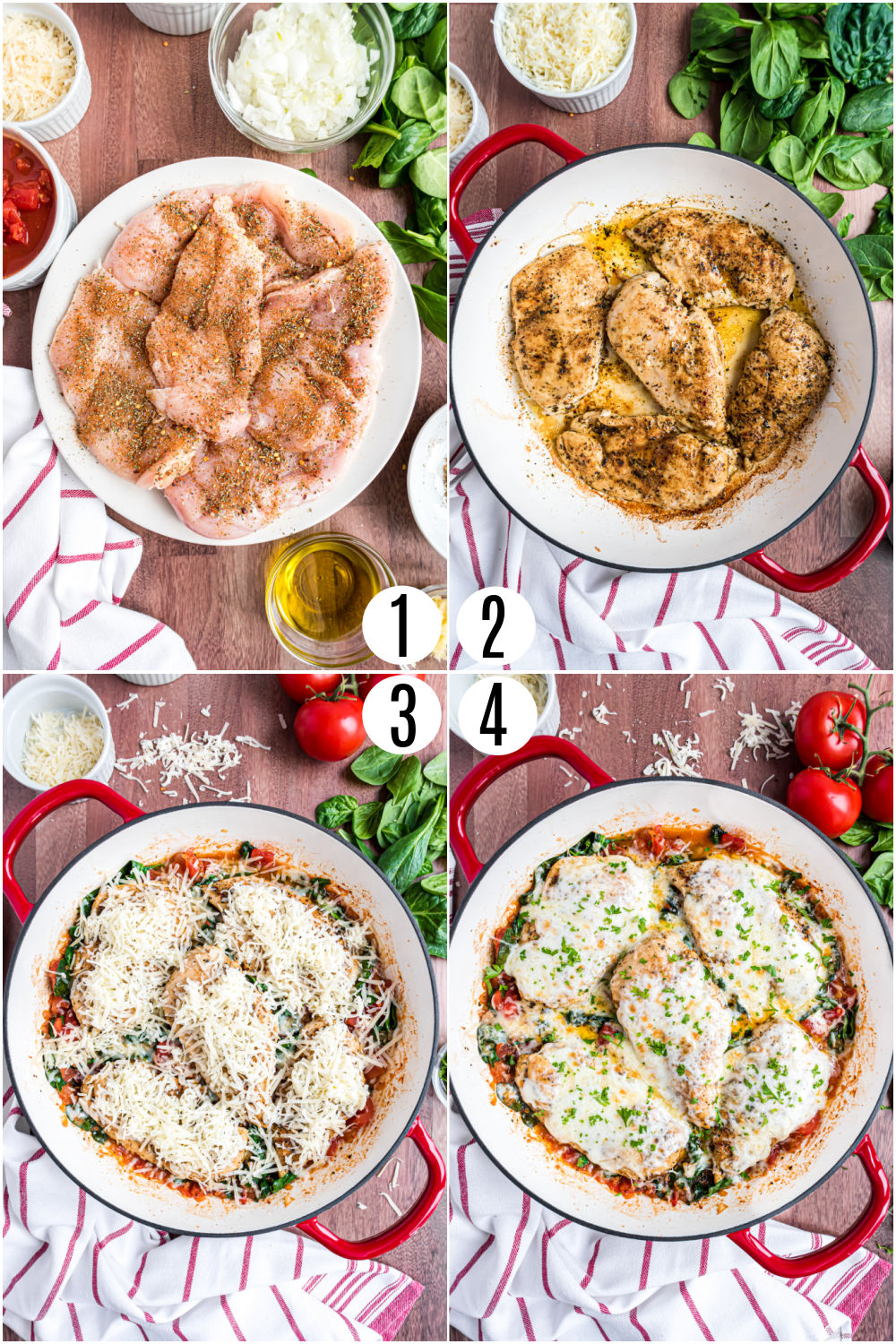 Step by step photos showing how to make chicken spinach skillet.