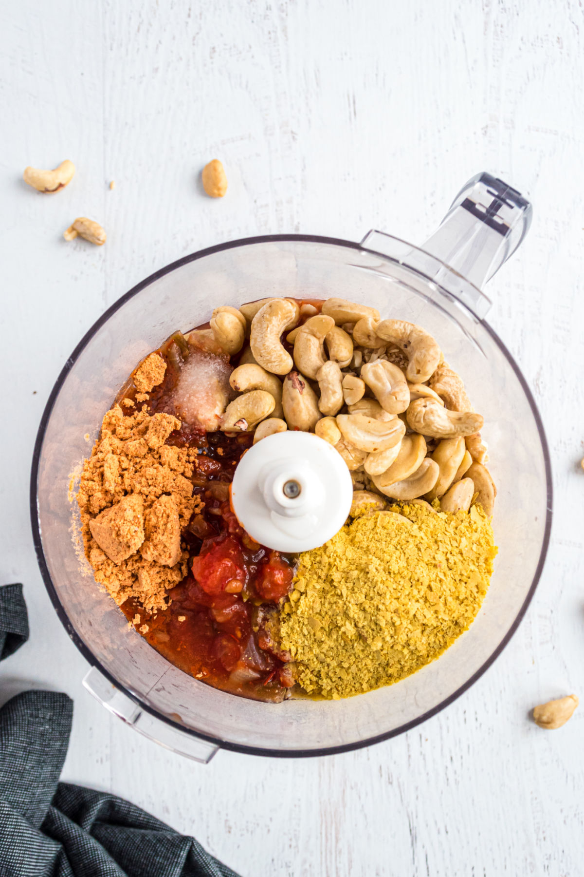 Cashew queso ingredients in a food processor.