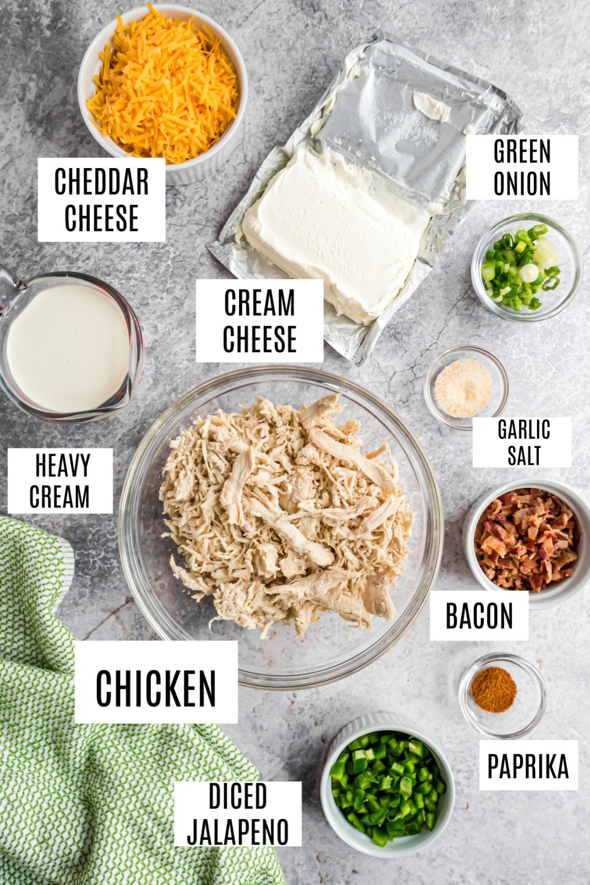 Ingredients needed to make jalapeno popper chicken.