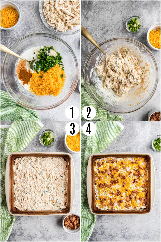 Step by step photos to make jalapeno popper chicken casserole.