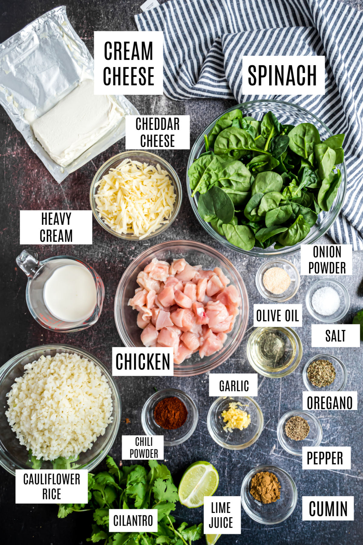 Ingredients needed for chicken and cauliflower rice casserole.