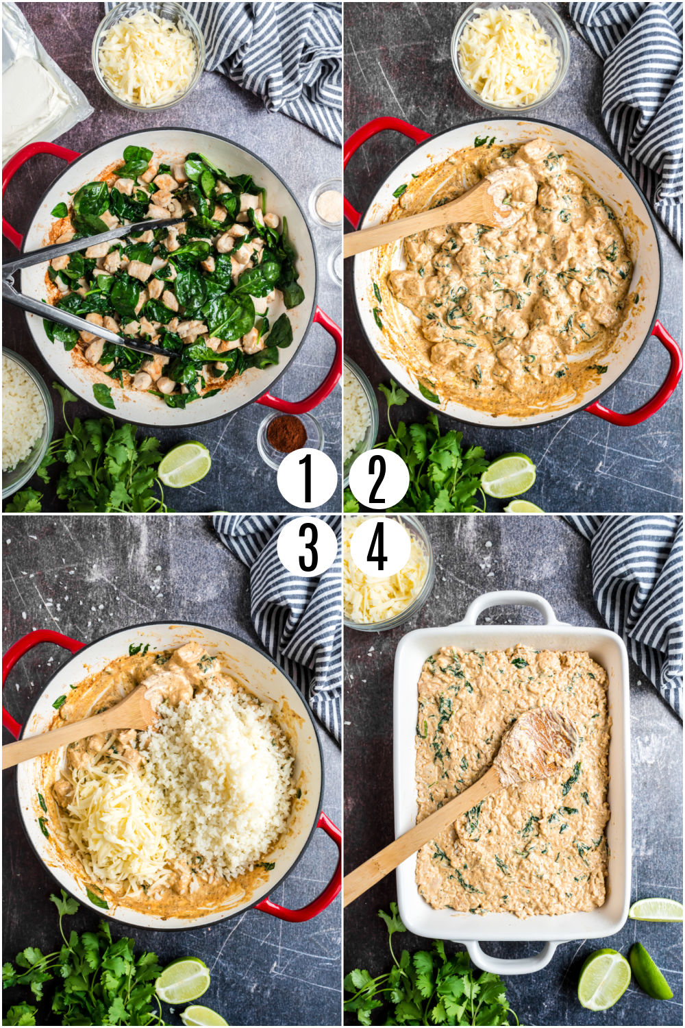 Step by step photos showing how to make chicken and cauliflower rice casserole.