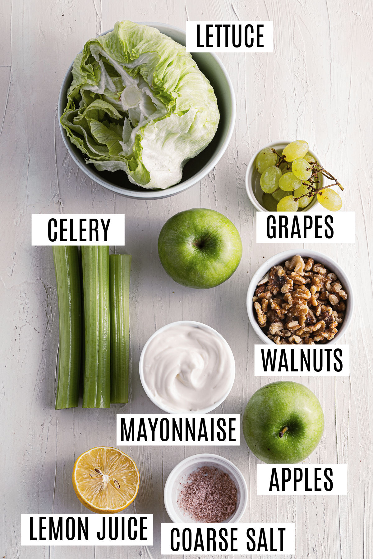 Ingredients needed to make waldorf salad.