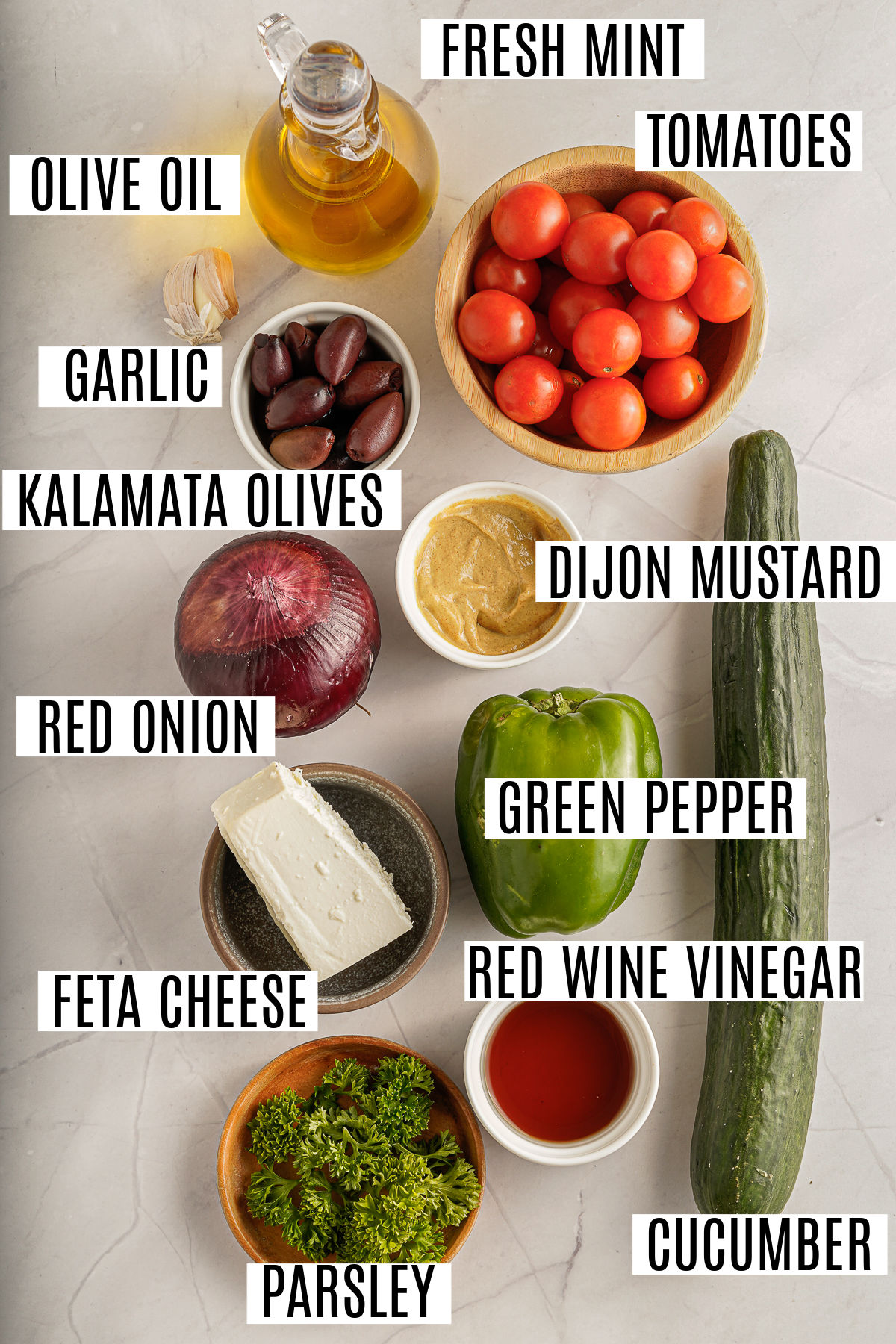 Ingredients needed for no sugar added greek salad and dressing.