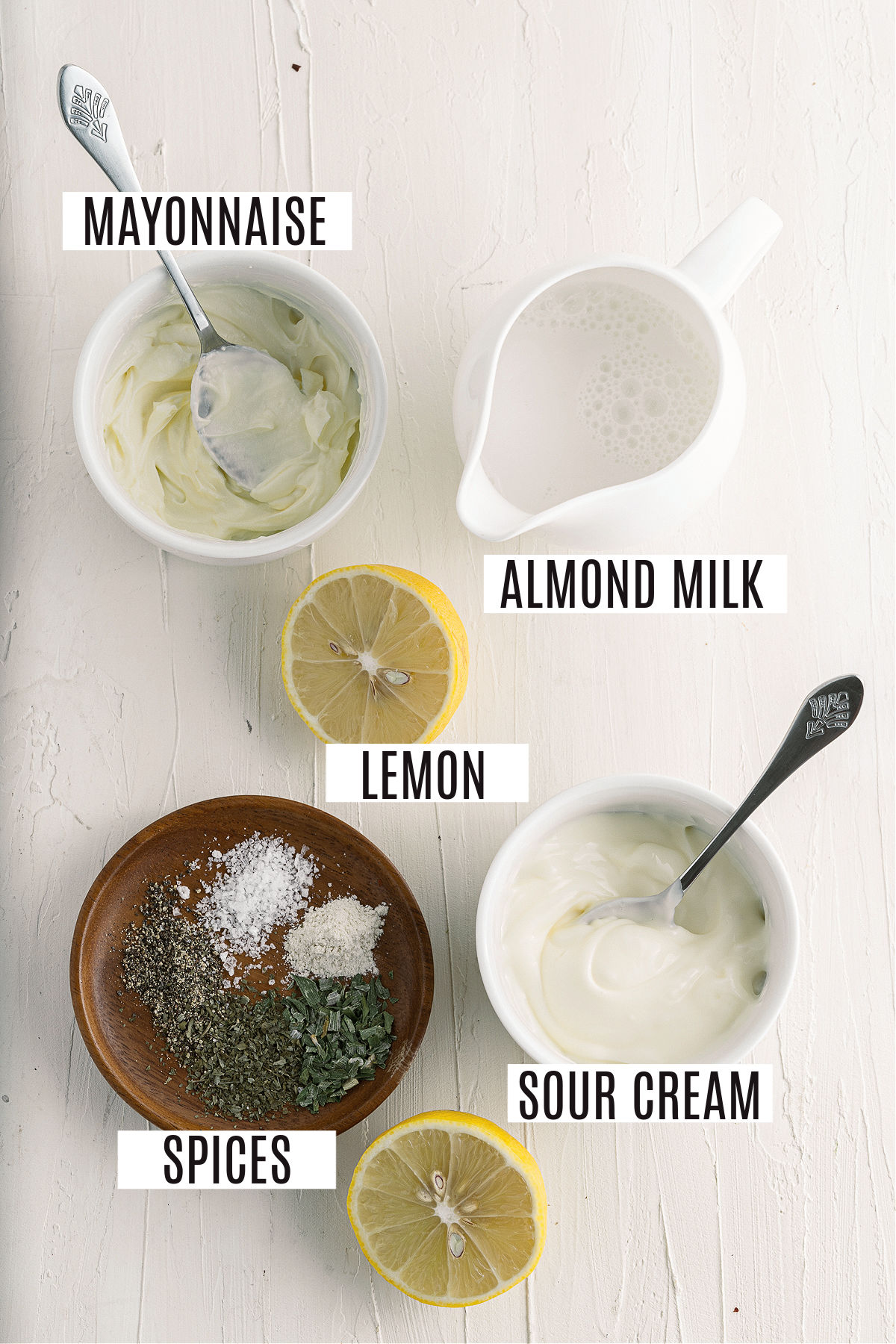 Ingredients needed for sugar free ranch dressing.