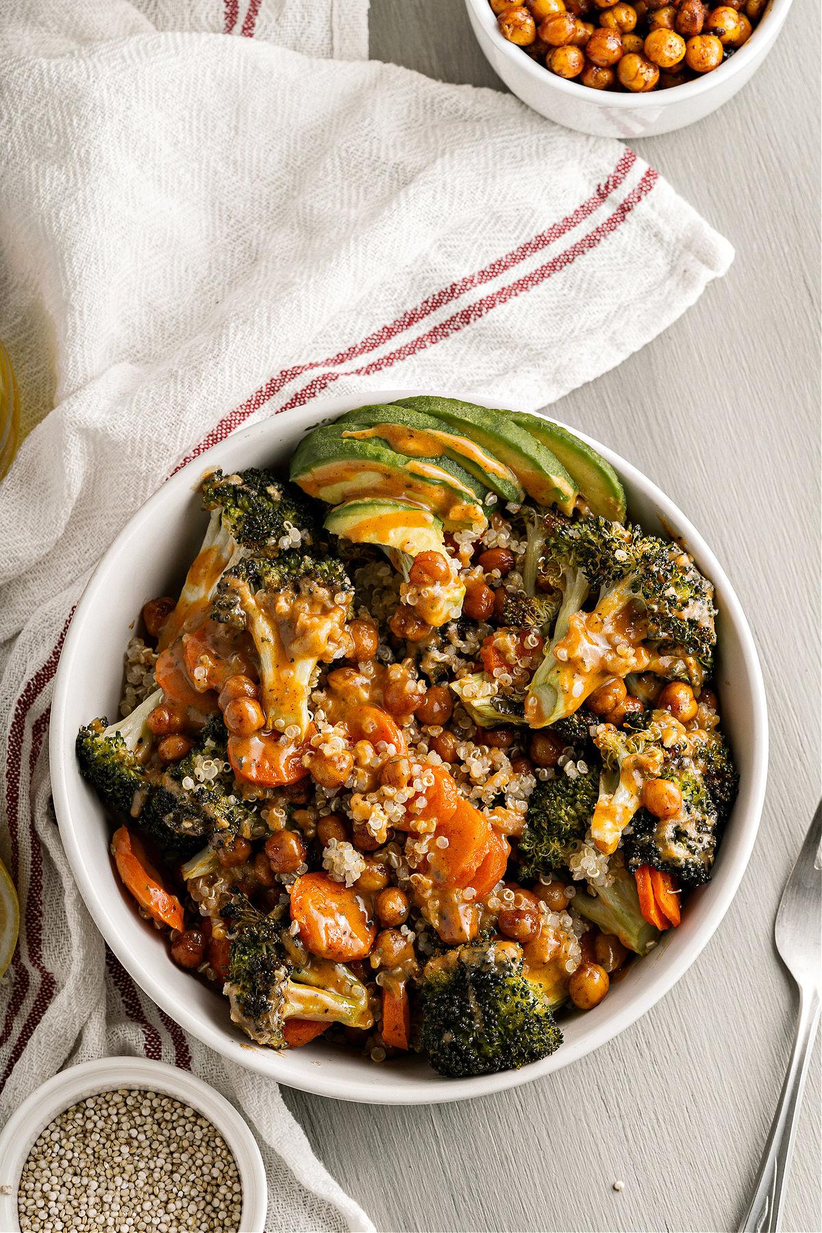 Broccoli buddha bowl with quinoa in a serving dish.