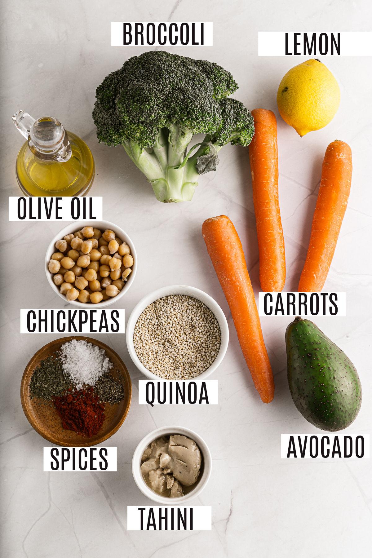 Ingredients needed to make a vegetarian buddha bowl.