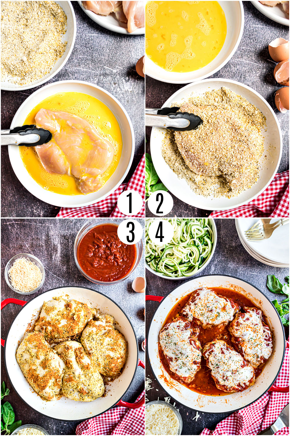 Step by step photos showing how to make gluten free chicken parmesan.