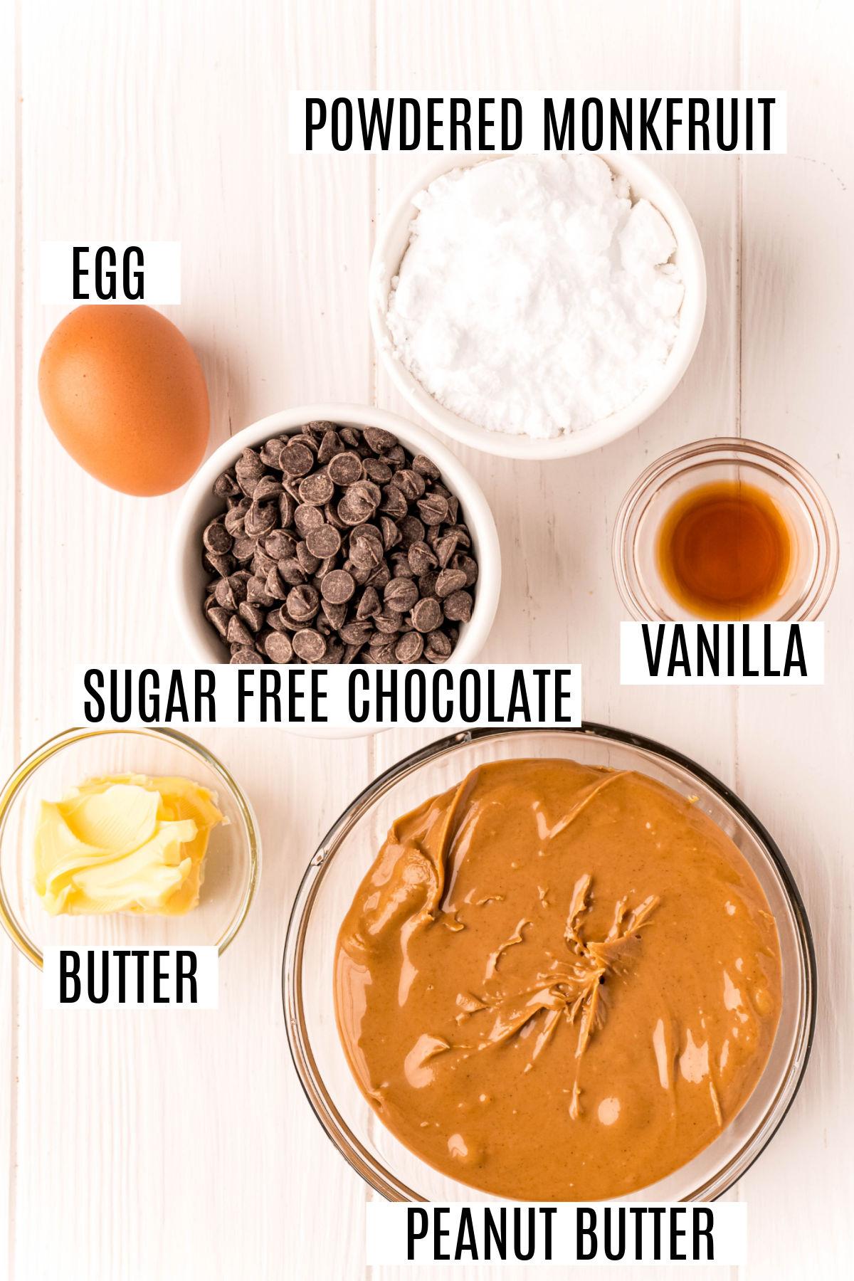 Ingredients needed for sugar free peanut butter cookies.