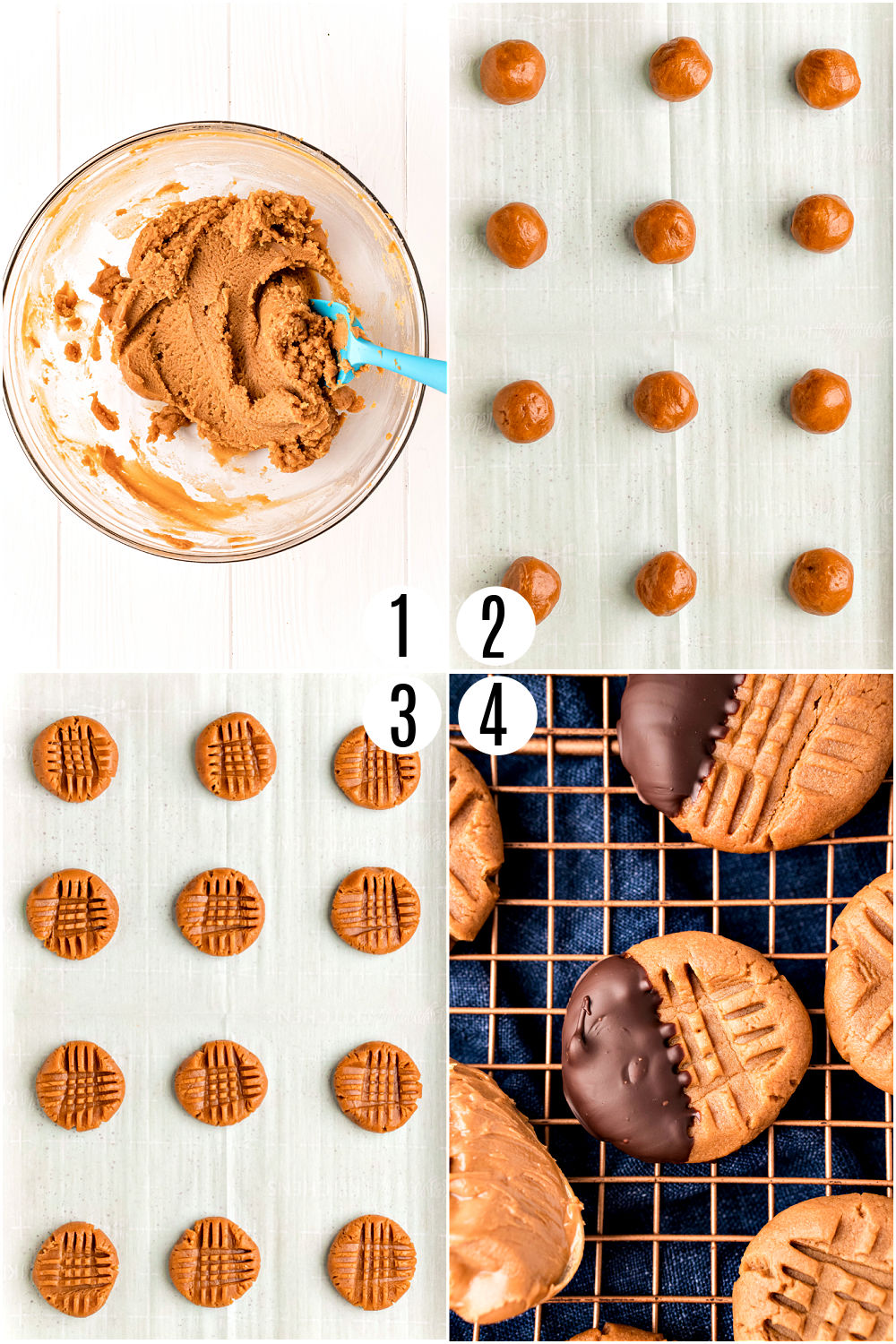 Step by step photos showing how to make keto peanut butter cookies.