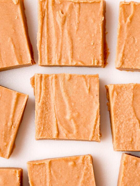 Squares of peanut butter fudge.