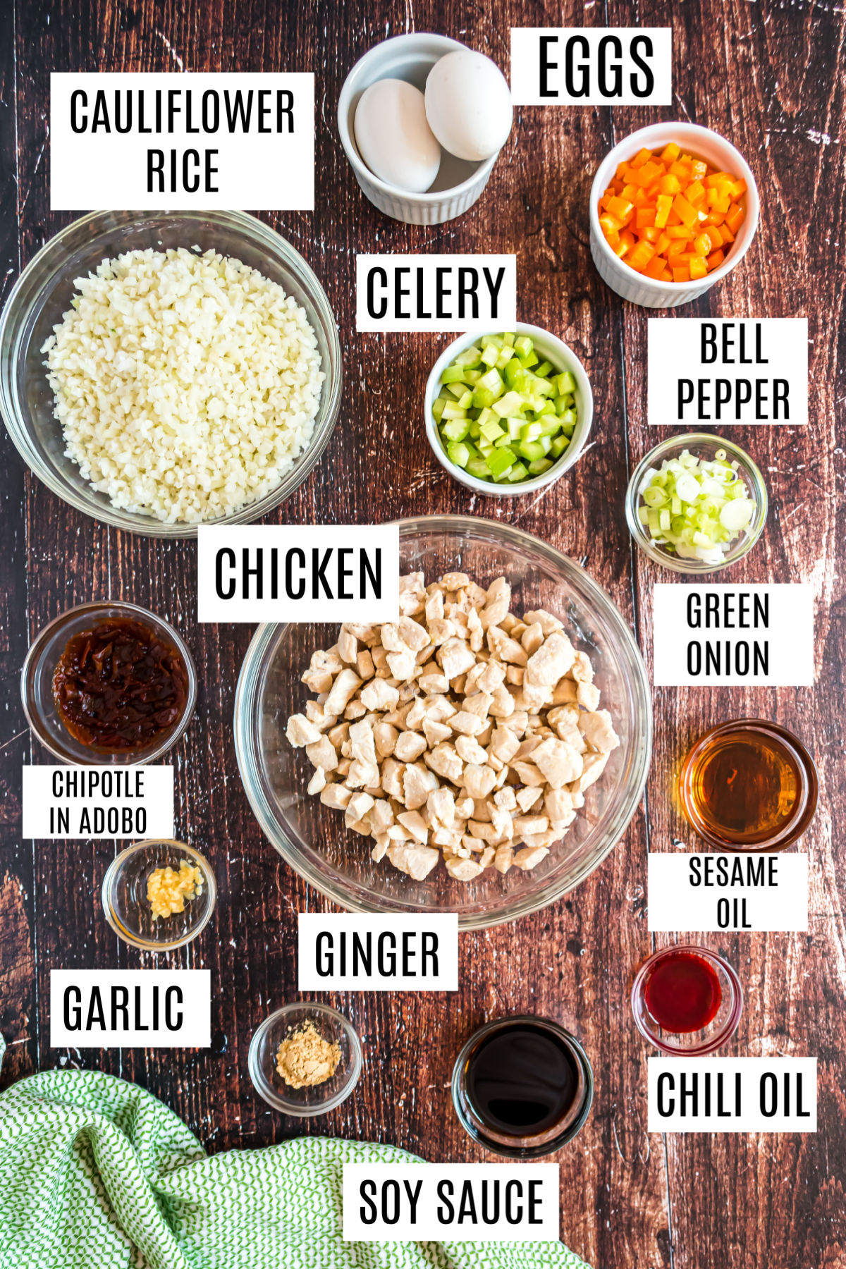 Ingredients needed for chicken fried rice with cauliflower.