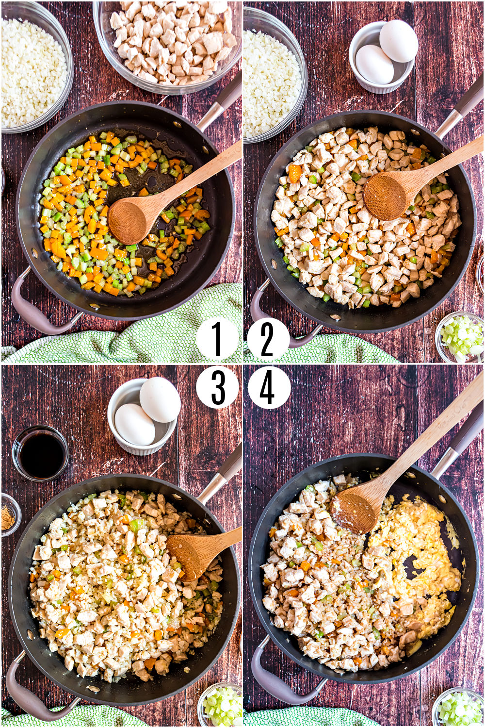 Step by step photos showing how to make cauliflower fried rice with chicken.