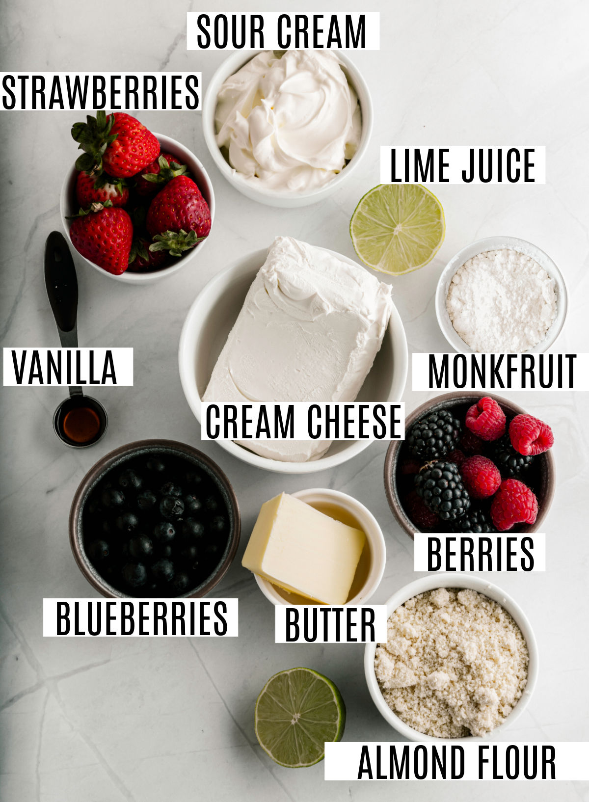 Ingredients needed for no bake berry cheesecake bars.