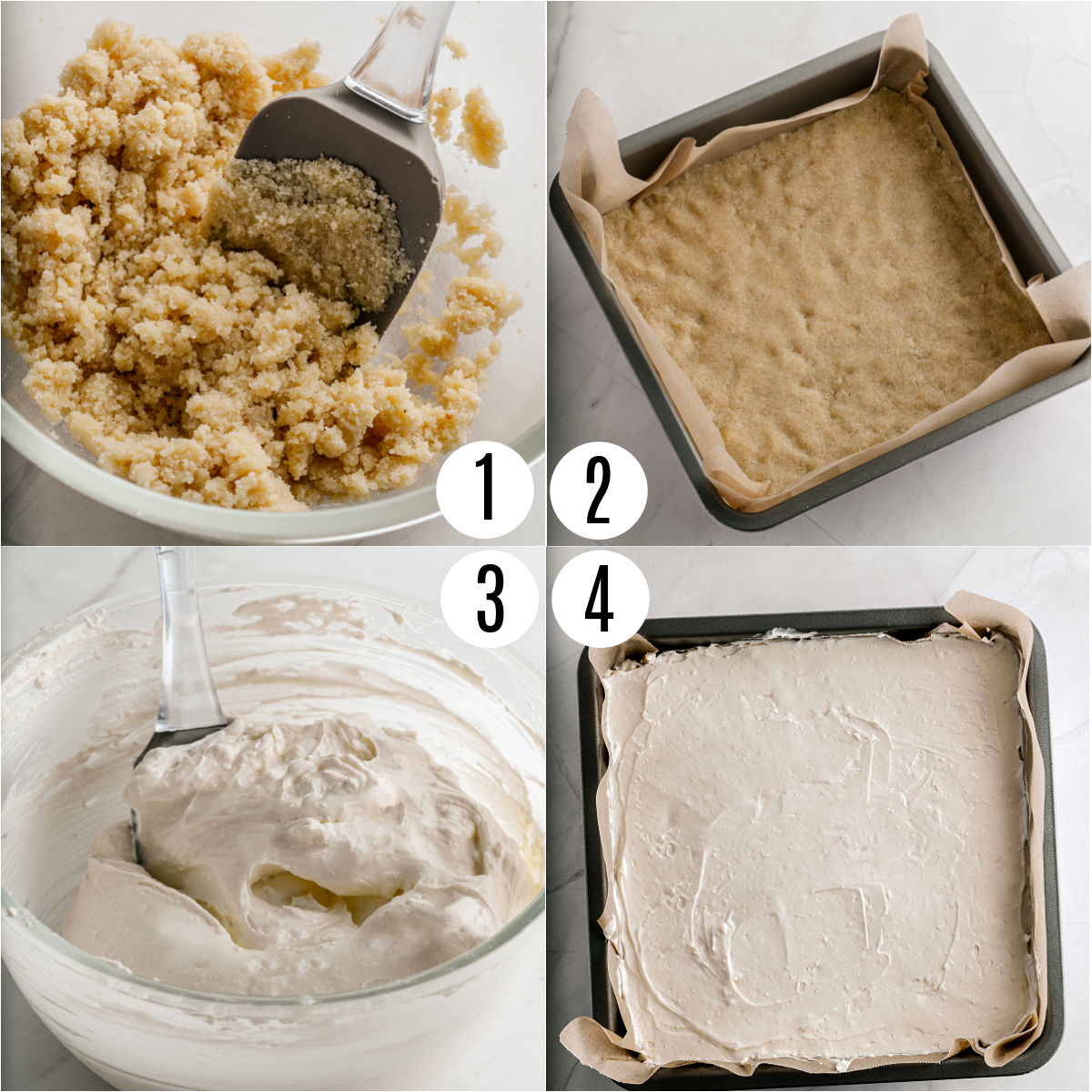 Step by step photos showing how to make gluten free cheesecake bars.