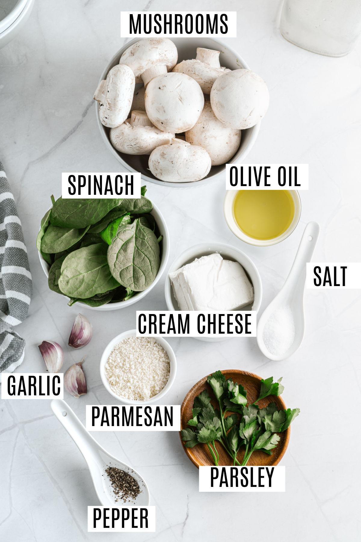 Ingredients needed for gluten free stuffed mushrooms.