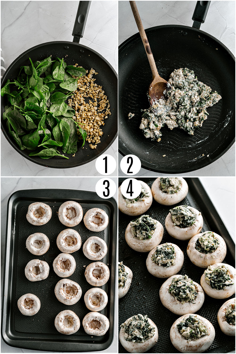 Step by step photos showing how to make stuffed mushrooms.