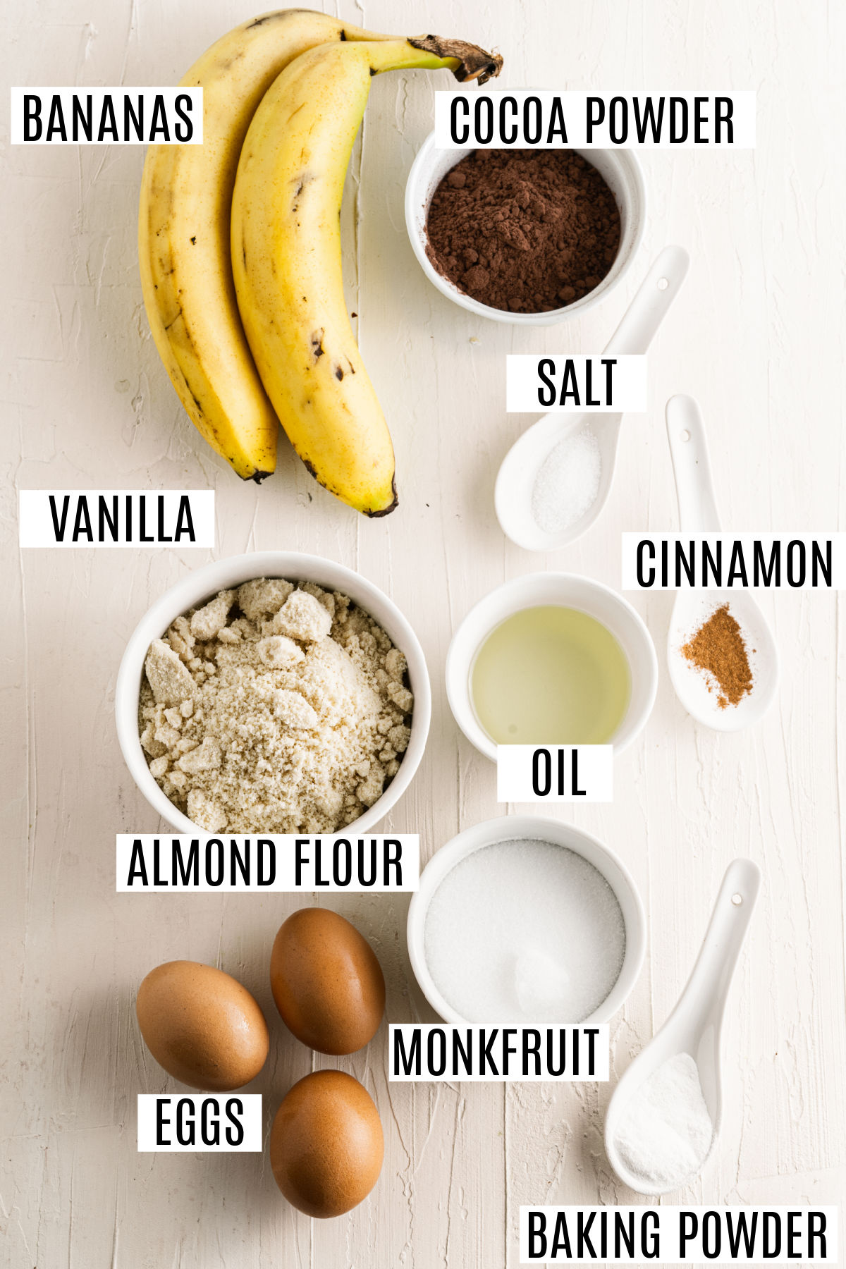 Ingredients needed for banana bread with no sugar and no flour.
