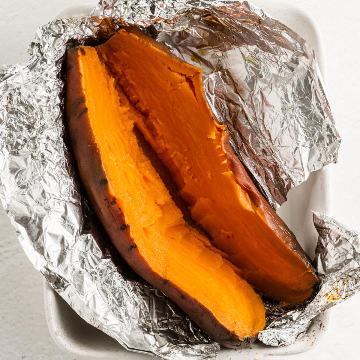 Sweet potato baked in foil.