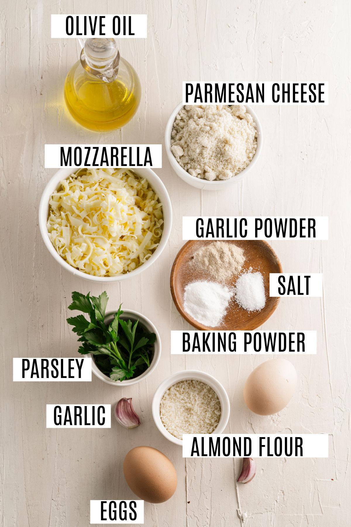 Ingredients needed for gluten free garlic bread recipe.