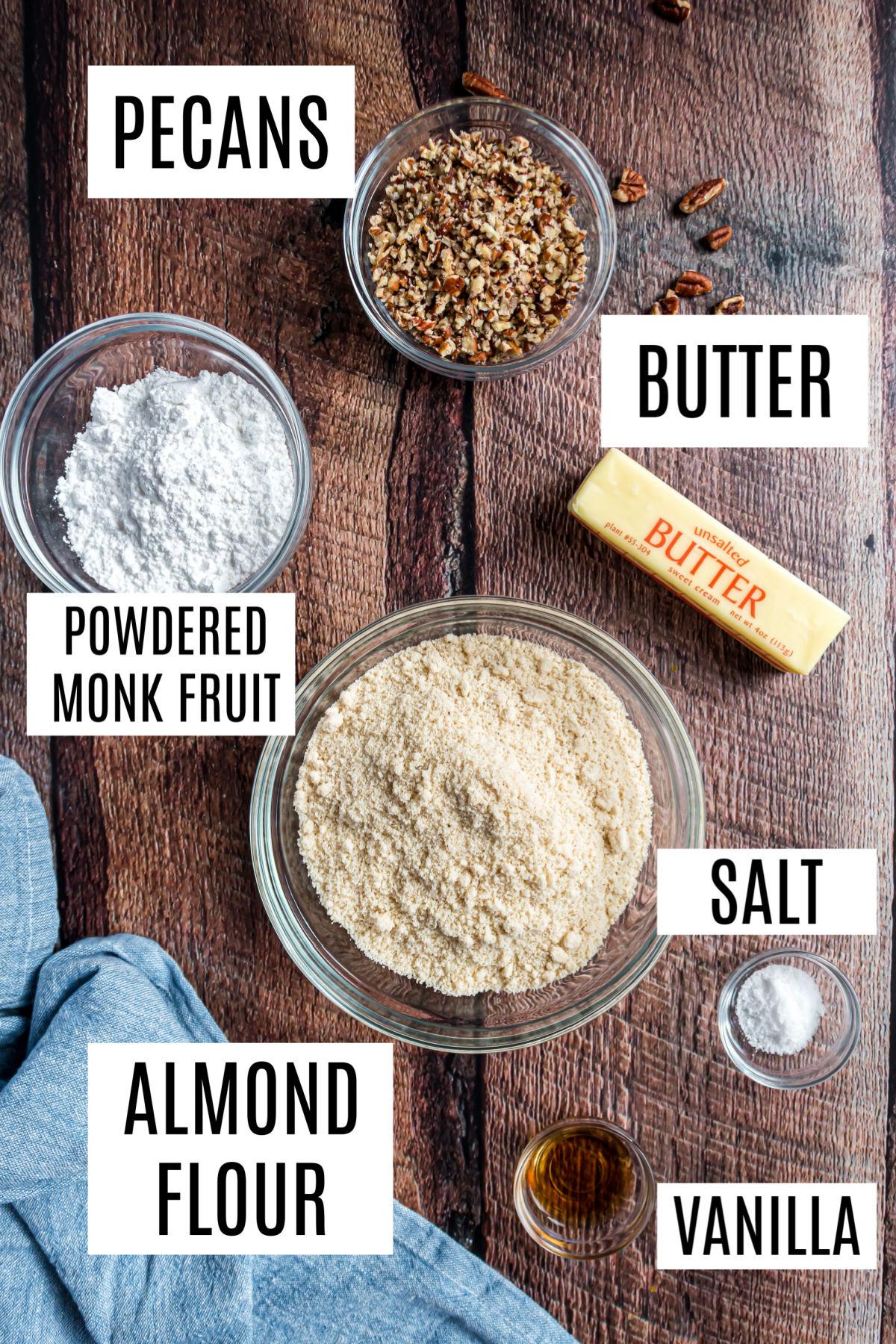 Ingredients needed for gluten and sugar free pecan sandies.