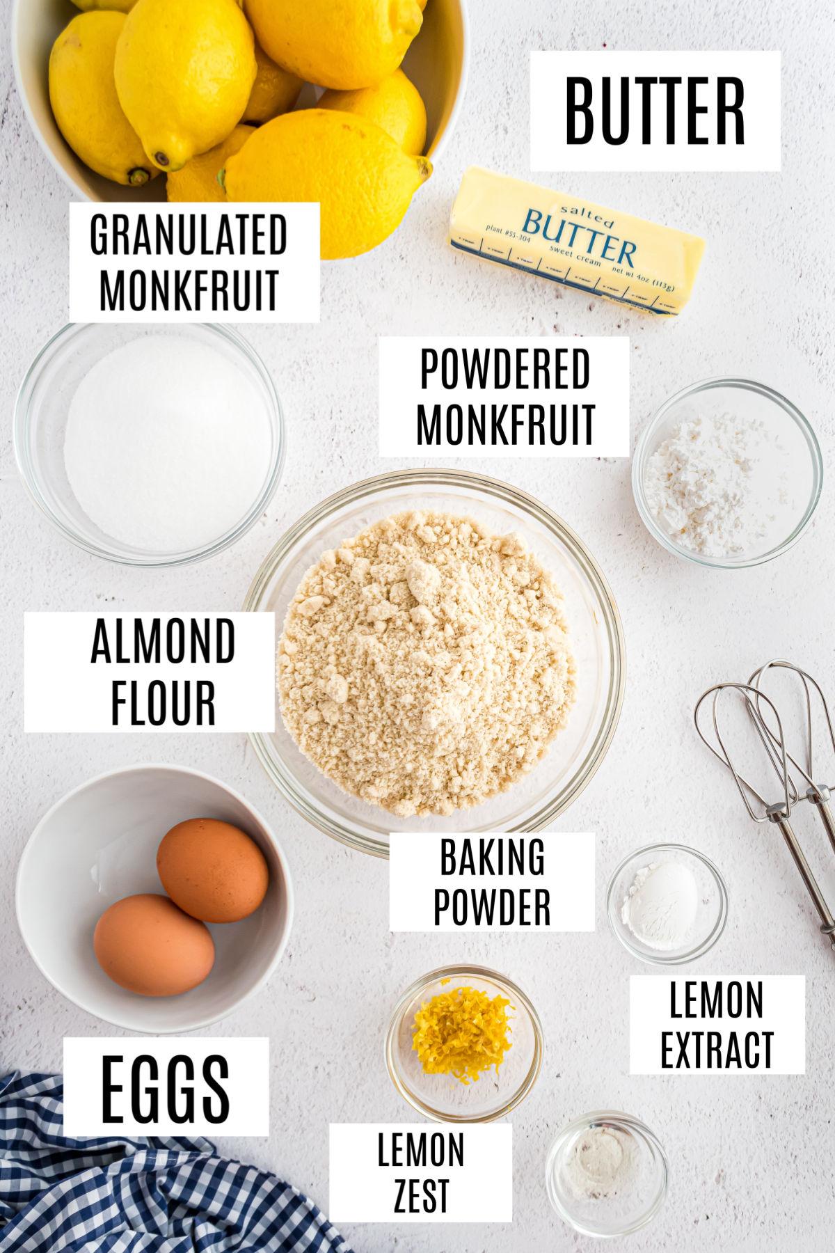 Ingredients needed for keto lemon cookie recipe.