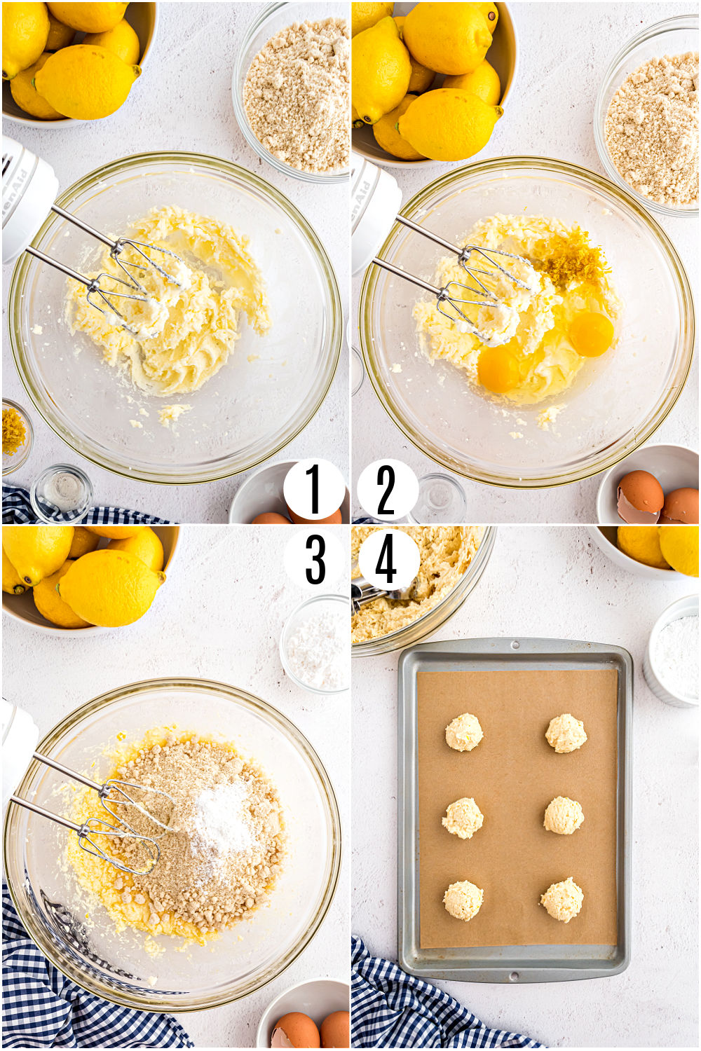 Step by step photos showing how to make sugar free lemon cookies.